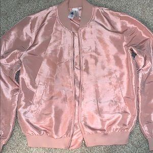 Society Girl Pink Satin Bomber Jacket
